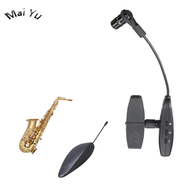 Pro 40m UHF Instrumento Saxofone Trombone Chifre Microfone Condensador Microfone Sem Fio 3.5 milímetros Jack de 6.35mm para Gravação de Música