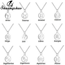 Shuangshuo Stainless Steel 12 Constellation Pendant Necklace Star Zodiac Sign Necklaces Women Jewelry Collares Largos Kolye(China)