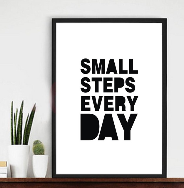 Small Steps Every Day Quotesencouraging Words Print Canvas Poster