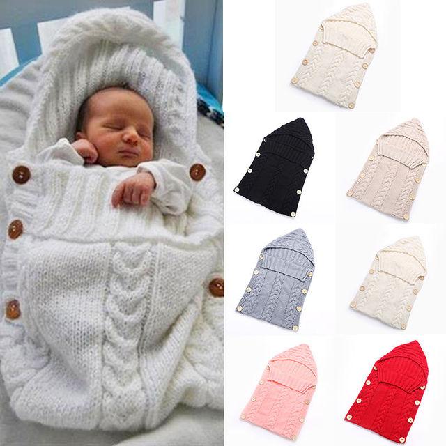 Swaddle Wrap Baby Blanket Newborn Infant Girls Boys Knit Crochet Cotton Sleeping Bag Winter Sweater