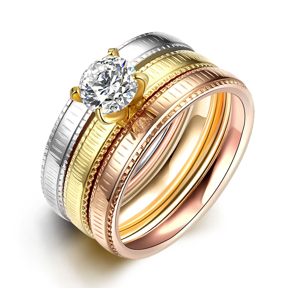 Sets Party Ring With Crystal Zircon Stainless  Steel Rings