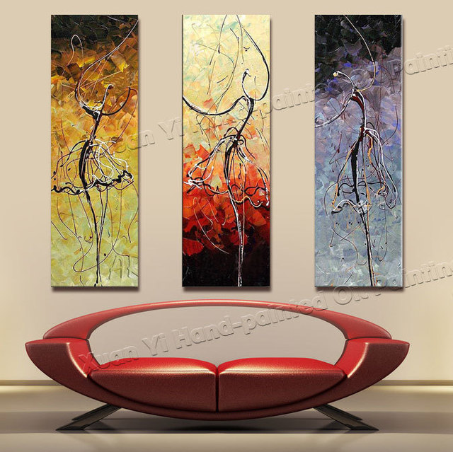 Charming 3 Panel Paintings 100% Handmade High Quality Home Decor Ballet Dancer Oil  Painting Canvas