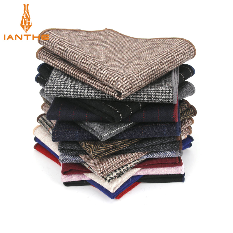 High Quality Hankerchief Scarves Vintage Wool Hankies Men's Pocket Square Handkerchiefs Striped Solid Pocket Hanky 23*23cm