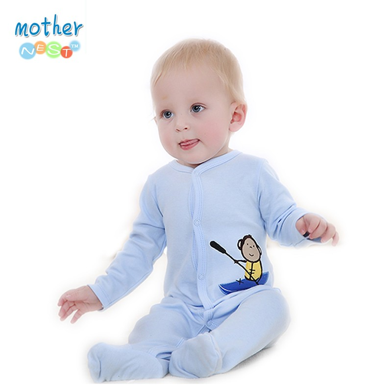 2016 New Style Baby Clothing Cotton Long Sleeve Baby Footies Spring Autumn Infant Jumpsuit Round Collar Baby Sleepers Unisex (1)