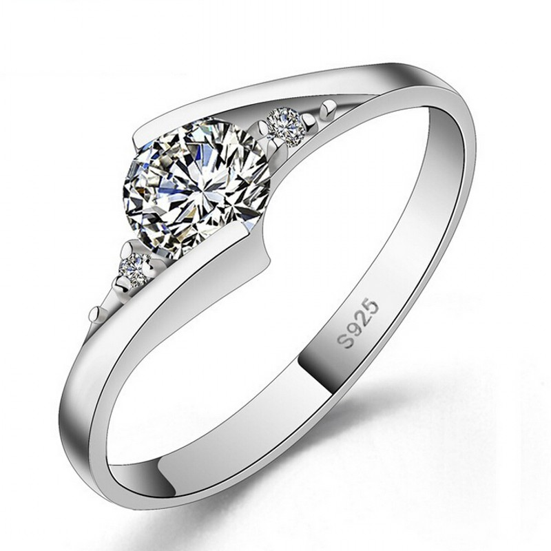 vecalon jewelry real 100 925 silver ring 05 carat 5a zircon cz engagement wedding rings - Cheap Wedding Rings Under 100