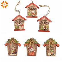 3PCS Multi Creatieve Huis Kerst Houten Hangers Xmas Tree Ornamenten Home Christmas Party Decorations DIY Hout Ambachten Gift(China)