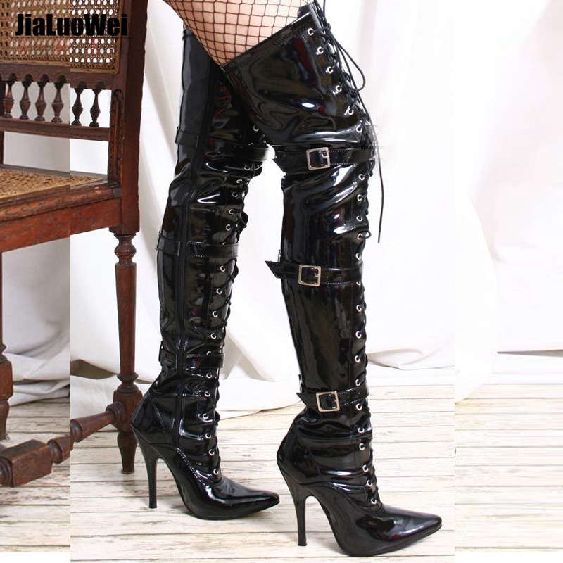 ФОТО Jialuowei Fashion sexy fetish high-heeled over-the-knee shoes Unisex pointed toe Patent Leather Lace-Up Buckle motorcycle boots