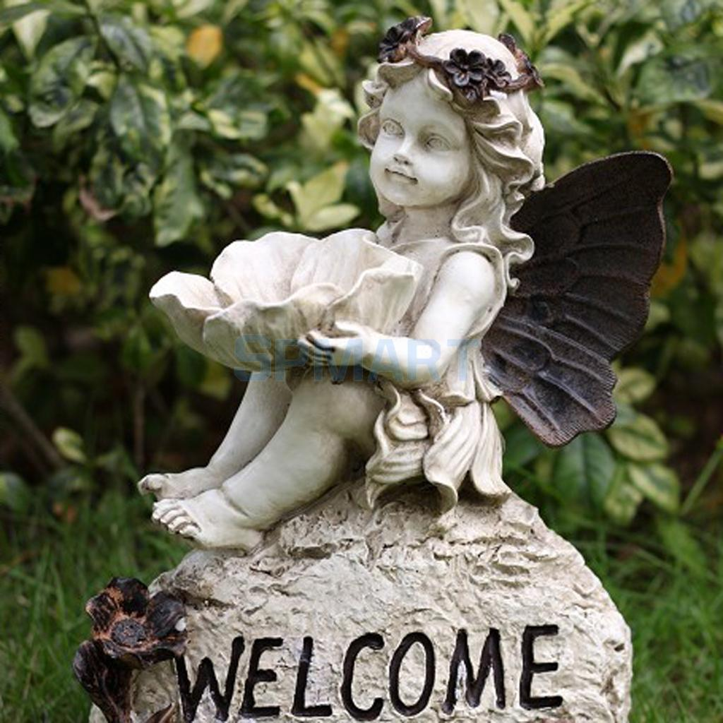 Decorative Statue Flower Fairy with Wing Model Figurine Home Garden Lawn Decor Ornaments Collections Gift