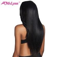 """Mslynn волосы бразильский прямые волосы пучки Человеческие волосы Weave Связки 1 предмет не Реми Наращивание волос 10 """"-28"""" можно купить 3 или 4 шт."""