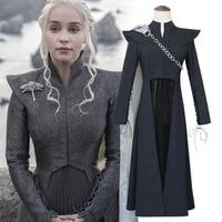 Game Thrones Daenerys Targaryen Costume Season 7 Cosplay Fancy Dress Black Outfit Cloak Halloween Carnival Custom Mad