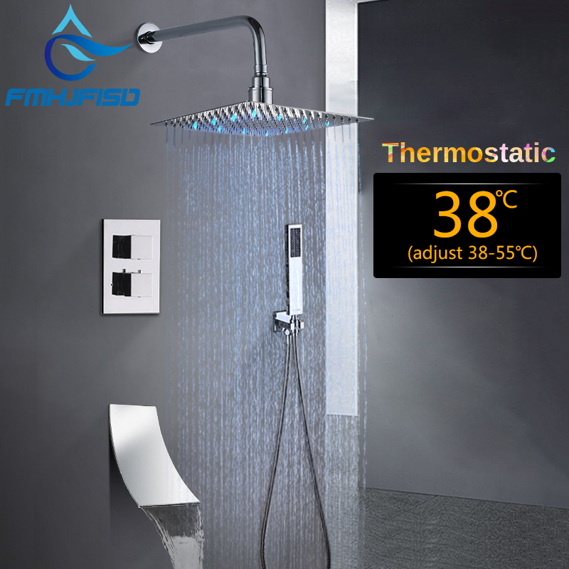 Faucet 12 inch Square Bathroom Thermostatic Shower Faucet Set Rainfall LED Shower Head Waterfall Spout