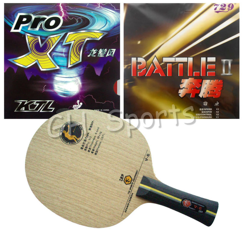 Pro Table Tennis PingPong Combo Racket RITC729 V-6 with BATTLE II and KTL Pro XT Shakehand Long handle FL pro table tennis pingpong combo racket globe 522 with globe 999t japanese sponge and 999 999t shakehand long handle fl
