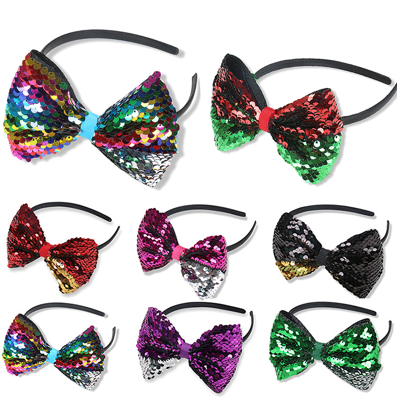 LARGE SEQUINS POLKA DOT BOW PARTY FUN HEN//WORLD BOOK DAY HEADBANDS GIRLS PARTY