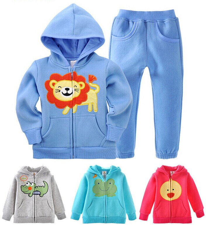 2016 Fall Winter Boys Girls Children Baby Sports Suit Jacket Sweater Coat Pants Thicken Kids Embroidery Clothing Set 2015 spring fall boys girls long sleeved sports suit kids fashion cartoon splicing casual clothes set children coat pants y417