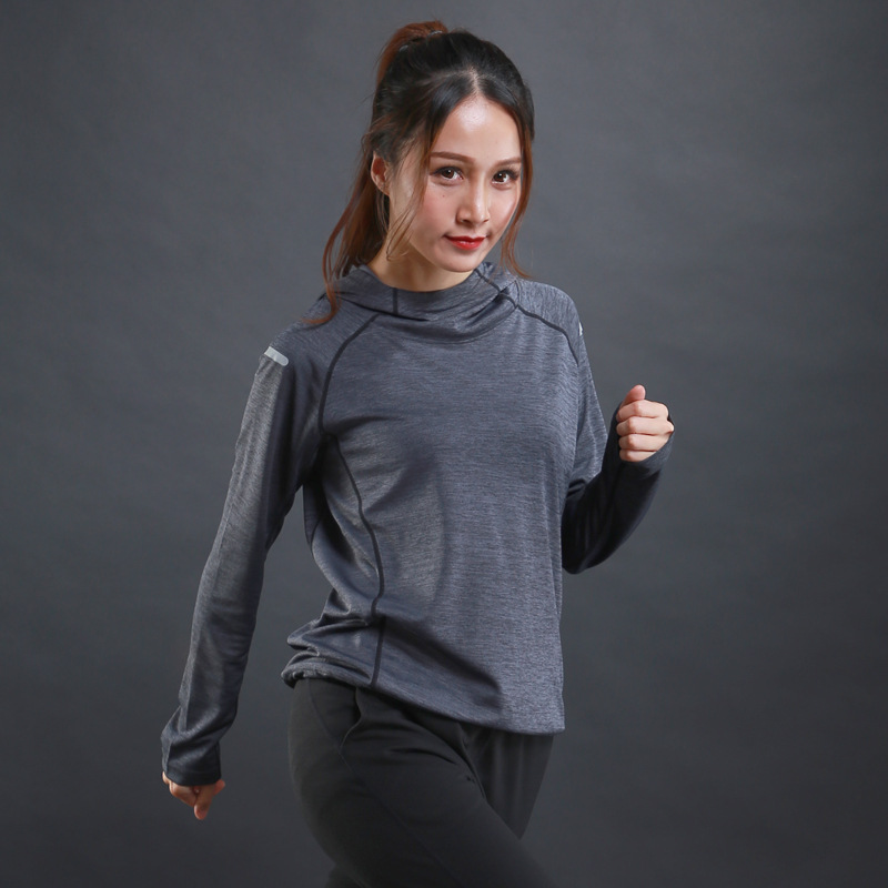 Sweater LX Fitness-Training Long-Sleeved T-Shirt Hooded Sports Women New Breathable Thin