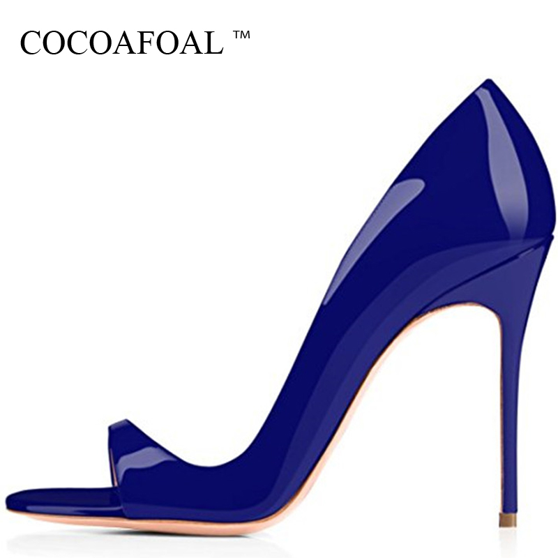 COCOAFOAL Women Blue Peep Toe Sandals Plus Size 43 Apricot White High Heels Red Wedding Sandals Sexy Summer Gold Open Toe Pumps цена 2017