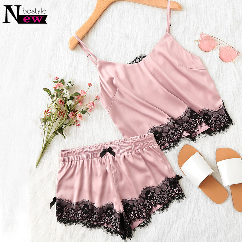 Newbestyle Pink Spaghetti Strap Lace Nightdress Applique Satin Cami Top and Shorts Pajama Party Fall Womens Sleepwear Pajama Set