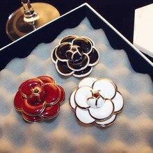 цена на CX-Shirling Brand 3 Colors Camellia Scarf Pin Brooch Clothes Pin Korea Fashion Charm Luxious Quality Badges cc Brooch/Broche