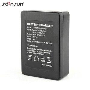Image 5 - SOONSUN USB デュアルスロット AHDBT 501 バッテリー充電ドック充電クレードルとケーブル移動プロヒーロー 8 7 6 5 黒ゴープロアクセサリー