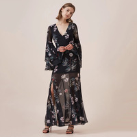 Floral Print Black Layered Ruffle Sleeve Maxi Dress Women Tied Open Back See Through Sexy Dress