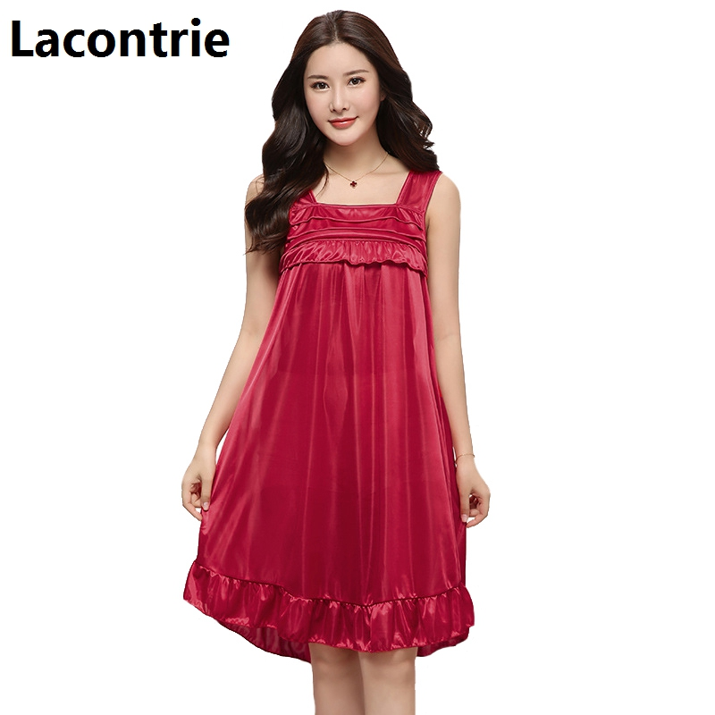 Lacontrie Spring Summer Women Sexy Spaghetti Strap Nightdress Comfort Home Wear Feminine Temptation Simulation Soft Nightgrowns ...