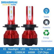 цена на 2 Pcs Car Turbo LED Headlight Kit H4 H7 led 9006 9005 H1 H3 H11 80W 6000K 8000LM CSP Chips Super Bright Bulbs Lamp K5 2019 New