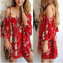 Купить с кэшбэком Summer Dress 2019 Women Tunic Boho Clothing Robe Femme Fashion Beach Dresses Big Size Festival Clothing Red Mini Dresses Brazil