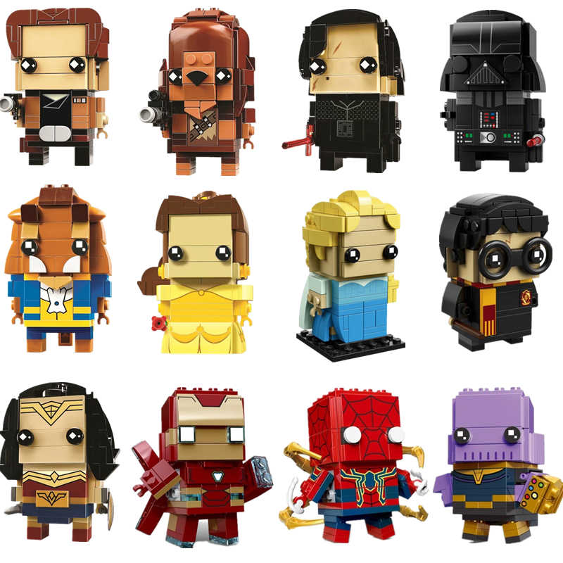 NEW Brickheadz Star Wars Han Solo Brick Heads Beauty And The Beast Bell Elsa Building Blocks With