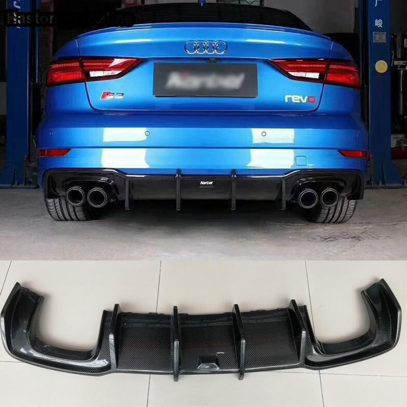 A3 S3 SLine Carbon Fiber Rear Bumper Lip Diffuser for Audi A3 Sline S3 Sedan 2017 2018 2019 (Not fit standard A3)