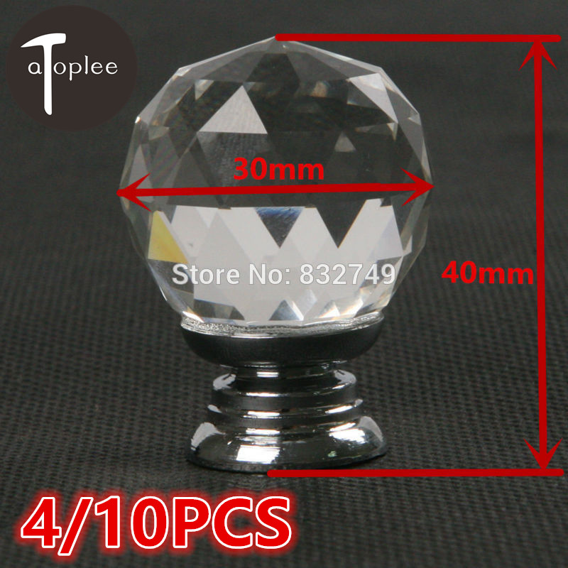 4/10Pcs 30*40mm Diamond Ball Crystal Cabinet Knob With Screw White Crystal Glass Door Handle For Decor Furniture Hardware Drawer 1 pair 4 inch stainless steel door hinges wood doors cabinet drawer box interior hinge furniture hardware accessories m25