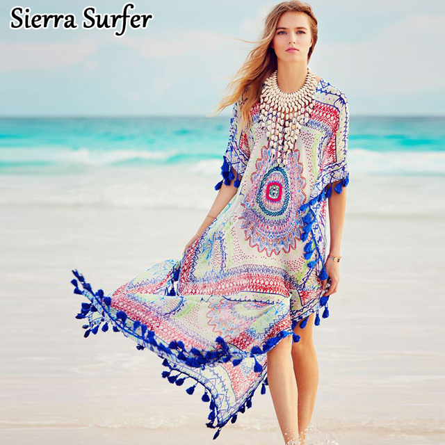 Tunic Beach Dress Cape Pareo Cover Up Summer Dresses Beachwear Ladies Kaftan  New Ball Flowers A Beach Were Smock Bikinis abbd16288