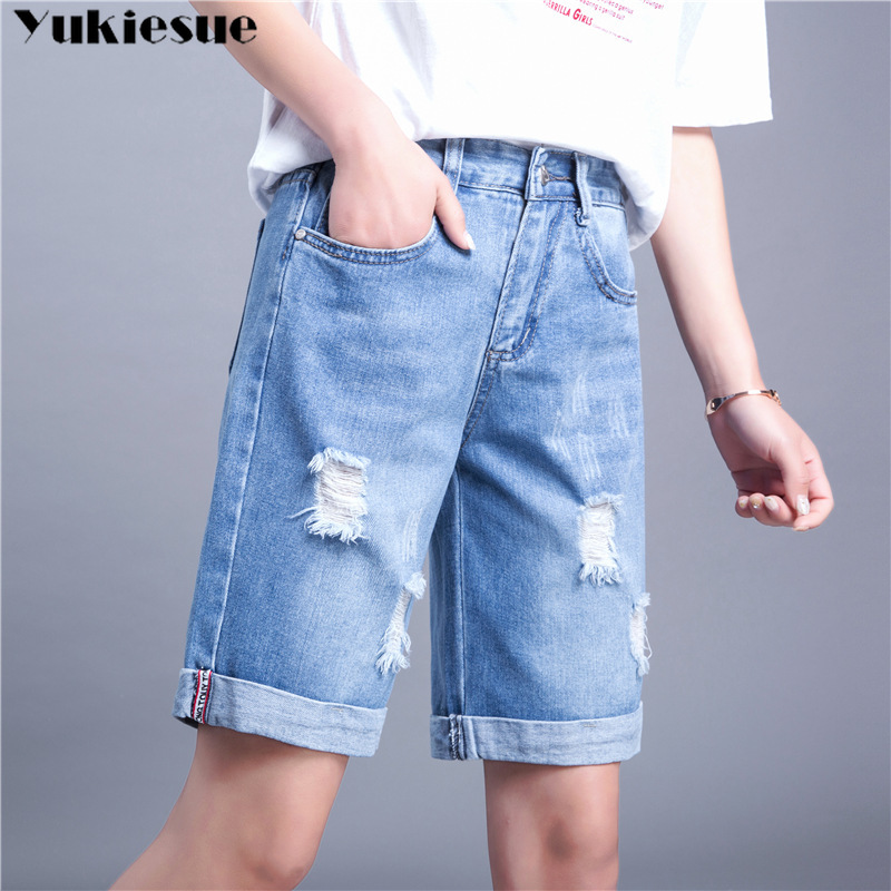 New Pencil Ripped Holes Denim Shorts Women Plus Size Summer Style Women Slim Knee Length Long Shorts Cutting Short Jeans