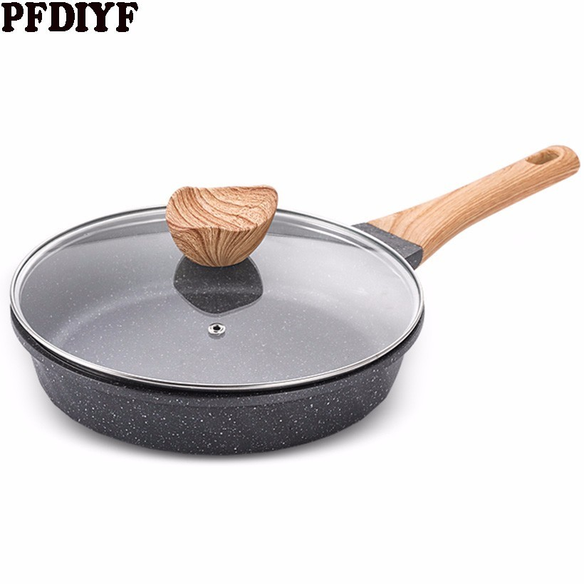 Medical Stone Non-stick Work Frying Pan 20-28 CM Pancake Steak Omelette Pan  With/without Cover Use For Gas Induction Cooker