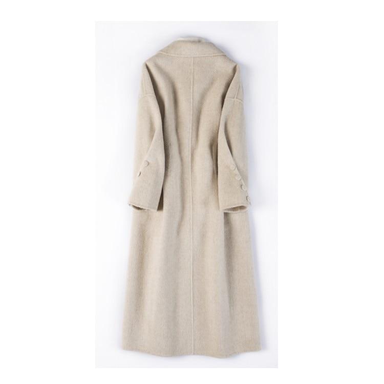 2018 nouveau manteau en laine manteau de couleur unie femme long manteau en laine double face manteau en laine de cachemire-in Laine et mélanges from Mode Femme et Accessoires    2