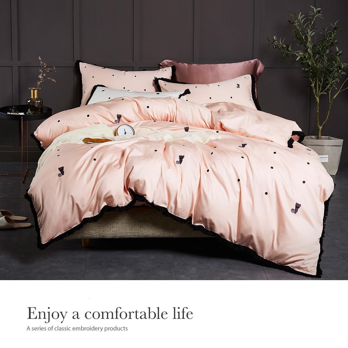 HS Комплект постельного белья из египетского хлопка с вышивкой модный Кот 4 шт. Комплект постельного белья s King queen размер простыня набор подо