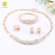 African Jewelry Sets Gold Color Flower Shape Full Crystal Necklace Set Fashion Wedding Elegant Costume Jewelry Set
