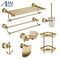 513G Series Golden Polish Brass & Jade Wall Mounted Bathroom Accessories Towel Rack Towel Shelf Paper Holder Soap Dish