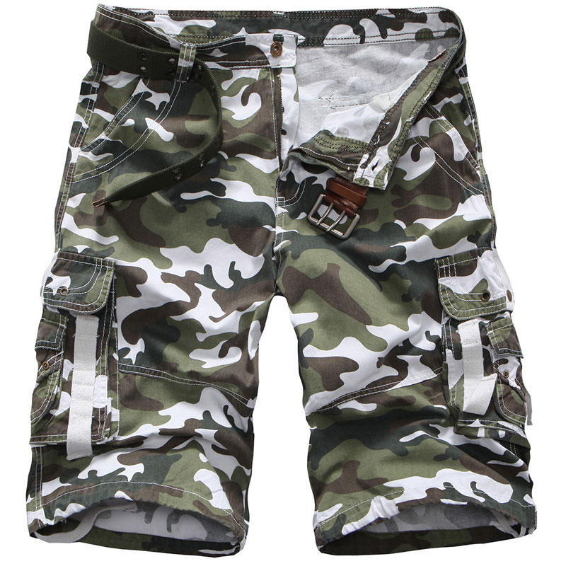 New Mens Camouflage Cargo Fashion Short Pant Multi Pockets Loose Fit Summer Pants Casual Mens Outwear Short Trousers 29-38