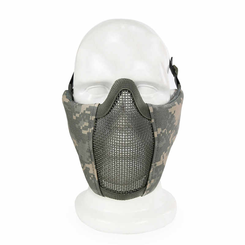 Tactical Half Face Mask for Airsoft Metal Steel Net Mesh Hunting Protective Airsoft Mask for CS Paintball Wargame Party Mask