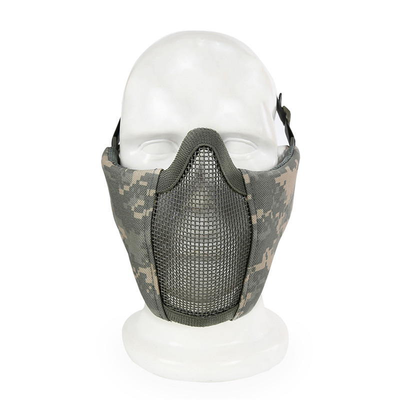 Tactical Half Face Mask Metal Wire Steel Net Mesh Airsoft Paintball Hunting Protective Breathable Mask for CS Wargame Party Mask