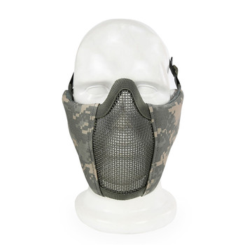 Tactical Mezza Viso Maschera di Metallo Filo di Acciaio Netto Della Maglia di Airsoft Paintball di Caccia di Protezione Traspirante Maschera per CS Wargame Mascherina Del Partito