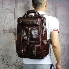 Genuine Leather Heavy Duty Design Men Travel Casual Backpack Daypack Fashion Knapsack Colle