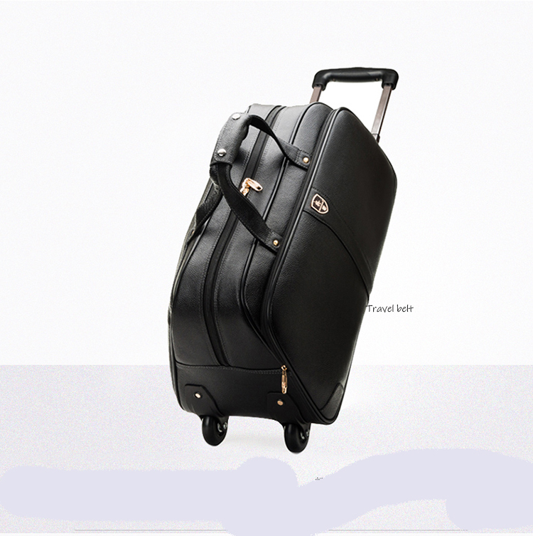 100 % Genuine Leather Travel Bags Waterproof Cowhide Rolling Luggage Men Business Suitable Wheels Portable Carry On Bags