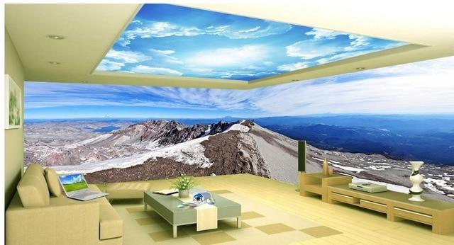 3d decke wandbilder wallpaper Blauen himmel weiße wolken wohnzimmer ...