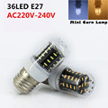 LED Corn bulb 3W Light Bulb 36Leds Lamparas Mini Transparent lampshade 4014 SMD LED light E27 220V 240V