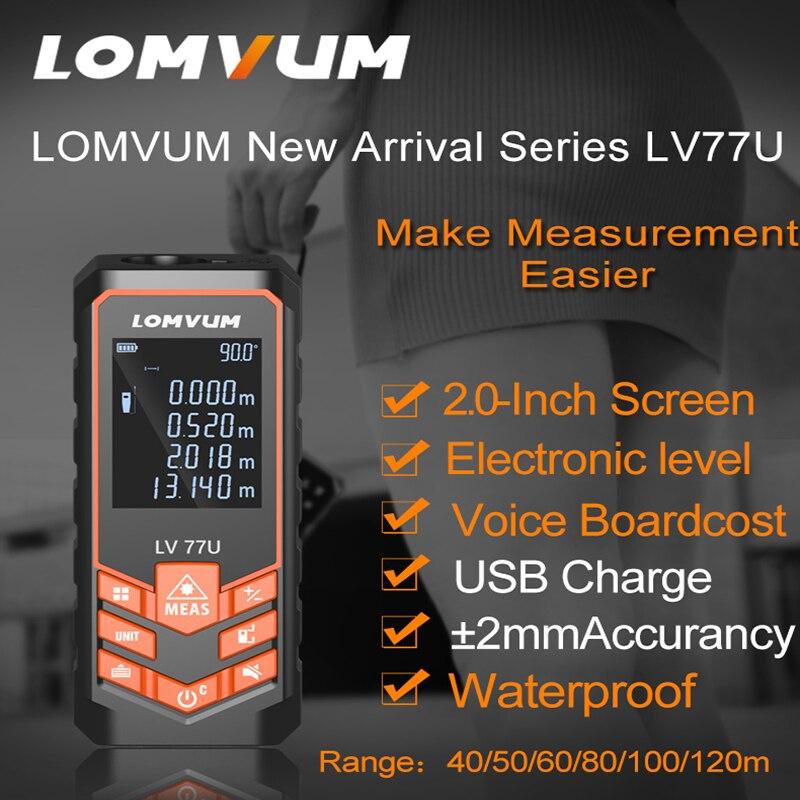 LOMVUM LV 77U Handhold Laser rangefinder Digital Laser Distance Meter USB-Charge Electrical Level tape Laser distance measurer