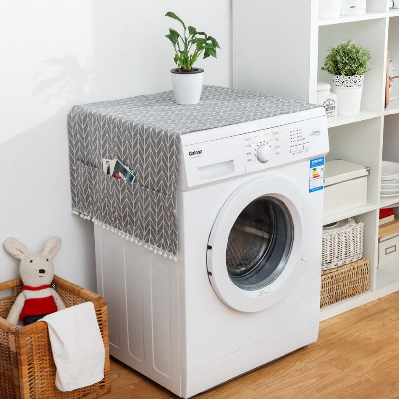 New Dust Cover Geometric Refrigerator Cover Single Door Fridge Towel Drum Washing Machine Cover Towel Kitchen Accessories