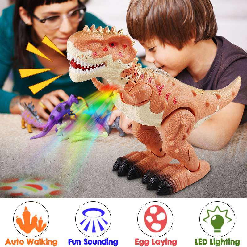LBLA Random Colors Electric Walking Dinosaur Egg-laying Light Up Kids Toy Gift Figure Sounds Real Movement LED