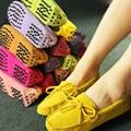 2016 Новый Осень Женщин реального Обувь Из Натуральной Кожи Замши Плоские Туфли Ручной Работы Леди Вождения Женщин Повседневная Обувь Мокасины Мокасины