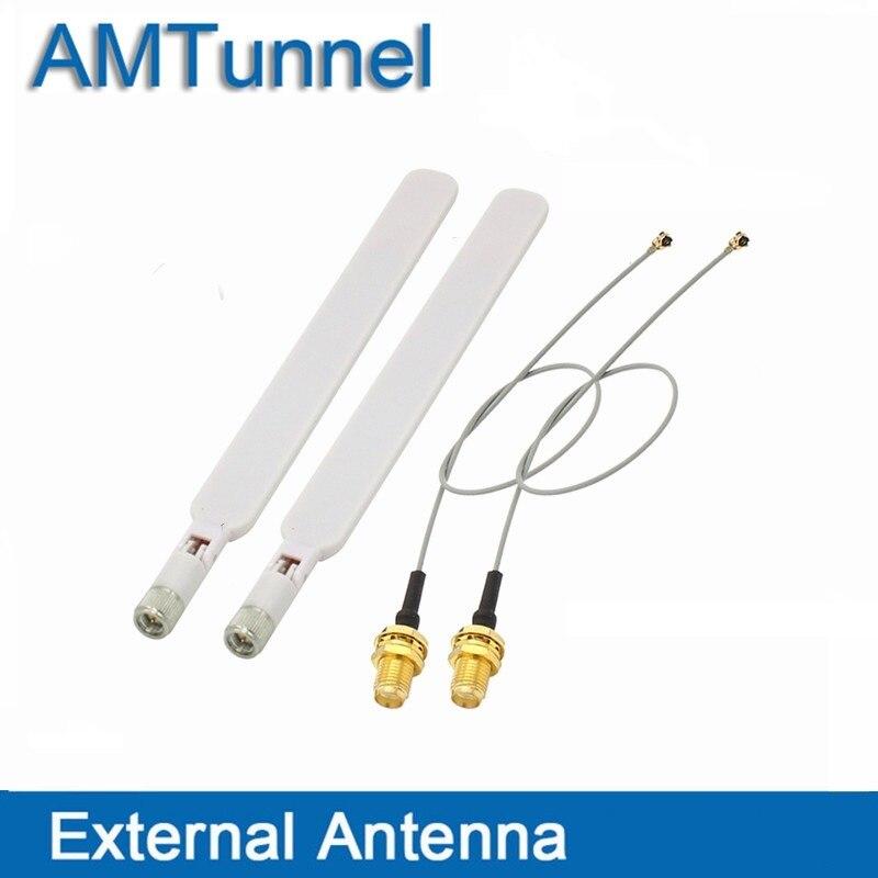 4g routeur Antenne 2.4g WIFI antenne 2 pcs avec SMA Sans Fil Routeur et 2 pcs 20 cm PCI u. FL IPX à RP SMA Femelle de Tresse de Câble